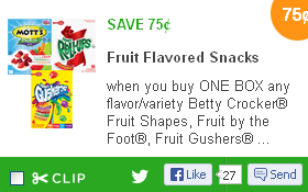 $.75/1 Fruit Rollups Coupon