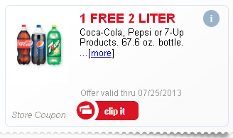 Free 2 Liter Coke or Pepsi from Meijer