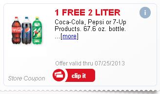 Free 2 Liter Coke or Pepsi from Meijer