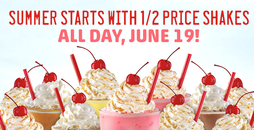 Today at sonic you can get half price shakes all day long offer is
